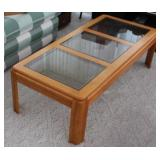 COFFEE AND 2 END TABLES WITH GLASS TOPS