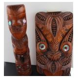 2PC HAND CARVED VASES AOTEAROR