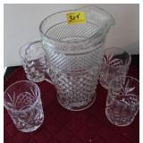 5PC WATER PITCHER AND CUPS
