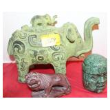 ELEPHANT, LION, HEAD STATUES