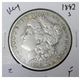 1892 S MORGAN DOLLAR F  KEY DATE