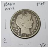 1915 BARBER HALF DOLLAR VG  RARE DATE