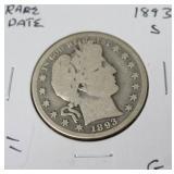 1893 S BARBER HALF DOLLAR RARE DATE