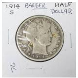1914 S BARBER HALF DOLLAR  VG