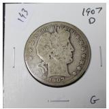 1907 D BARBER HALF DOLLAR  G