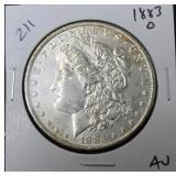 1883 O MORGAN DOLLAR AU