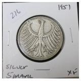 1951 GERMAN SILVER 5 MARKS XF