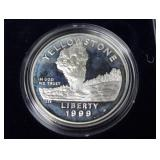 YELLOWSTONE PROOF SILVER DOLLAR W BOX PAPERS