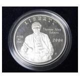 THOMAS EDISON PROOF SILVER DOLLAR W BOX PAPERS