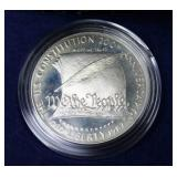 PROOF CONSTITUTION SILVER DOLLAR W BOX PAPERS