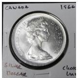 1966 CANADA SILVER DOLLAR CHOICE BU