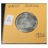 1853 SEATED QUARTER AG