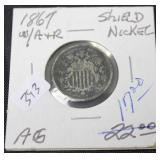 1867 SHIELD NICKLES  W RAYS  AG