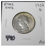 1932-S WASHINGTON QUARTER - RARE DATE - AU