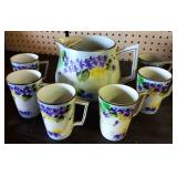 Vintage Pitcher/Cup Set, Handpainted