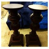 Two, Large Wood Plant/Lamp Pedestals