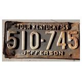 1955 KY License Plate