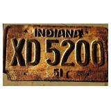 1951 IN License Plate