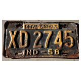 1958 IN License Plate