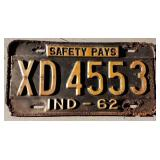 1962 IN License Plate