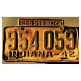 1942 IN License Plate