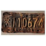 1950 IN License Plate