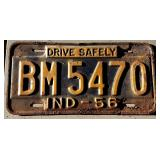 1956 IN License Plate