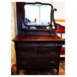 Antique 2-over-2 Dresser with Mirror
