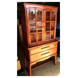 3-piece Mid-Century Maple Dining Room Glass Front Cabinet