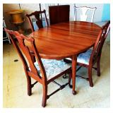 Mid-Century Dining Room Table, 4 Chairs, 2 Leaves