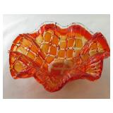 Orange Tone Glass Bowl, likely Murano, not marked