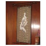 Wall Hanging Oil on Fabric Egrets, Iron Hanger