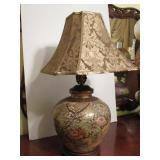 Oriental Table Lamp, Fabric Shade