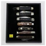 7- Assorted jig bone handle pocket knives: