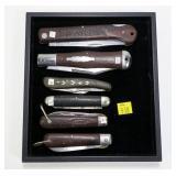 6- Assorted wood handled pocket knives: Challenge