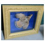 Ruffled grouse mounted in gold gilt framed shadow