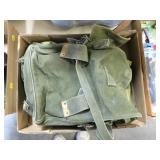 Small OD green backpack and pouches