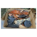 Lot, leather and synthetic holsters