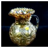 "9"" Carnival high fluted pitcher with grape design"
