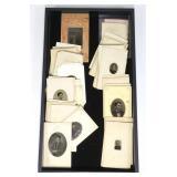 Lot, 47 tin type photos: small portrait types of