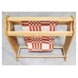 Oak quilt towel rack