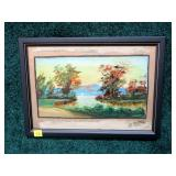 "8 1/2"" x 12"" Oil on board, lake inlet scene signed"