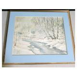 "15"" x 19"" watercolor, winter creek scene signed"