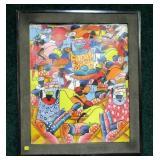 """24"""" x 20"""" Oil on canvas, Haiti Market Scene,"""