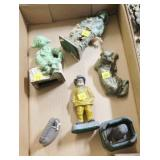 Lot, cast iron fisherman, dog, solider, mini