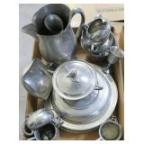 Lot, pewter pitcher, bowls, plates and more