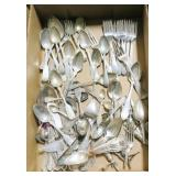 Lot, silverplate flatware and corn holders
