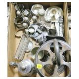 Lot, silverplate salt and peppers, cruet holders,