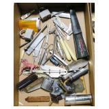 Lot, lighters, pocket knives, forceps, meat