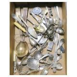 Lot, silverplate flatware, tea strainers